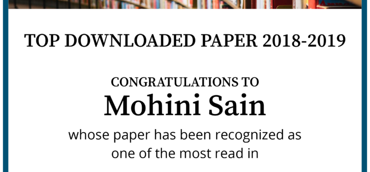 Professor Sain Recognized As Amoung Most Read Authors In Wiley